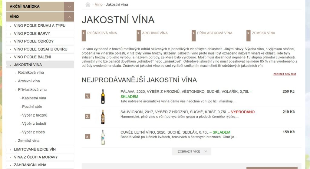winehouse kategorie víno