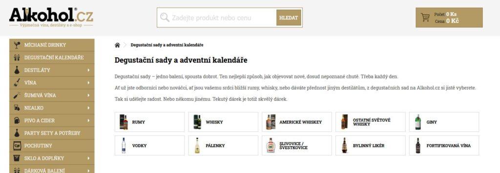 e-shop alkohol.cz stránka s degustačními sadami